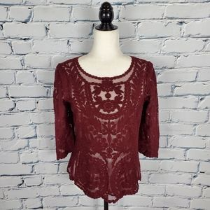 Reiss Dark Red Lace Blouse